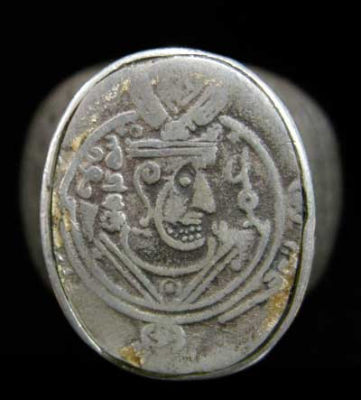 Incised Silver Ring with a Sassanid Coin
