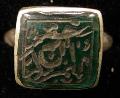 Inscribed Green Stone Seal Set in a Silver Ring