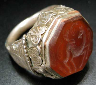 Carnelian Seal of a Deer Set in a Silver Ring