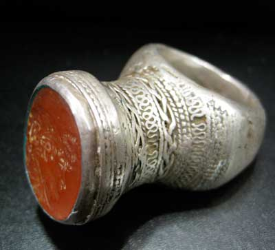 Carnelian Seal of King Demetrius I Set in a Silver Ring