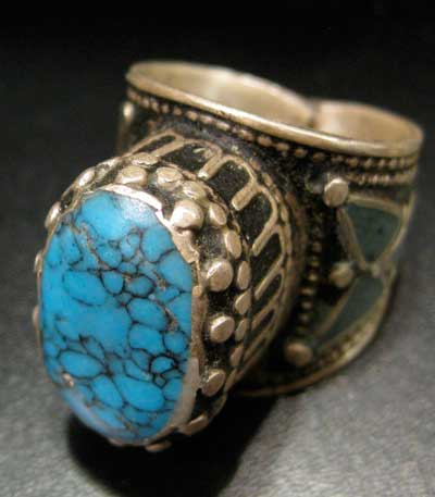 Turquoise Set in Inlaid Silver Ring