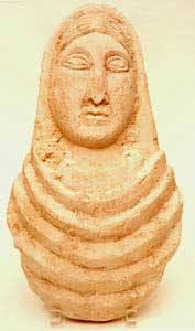 Late Roman Period Limestone Bust of a Woman