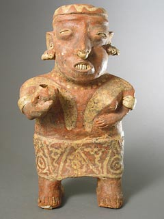 Ixtlán del Rio Style Nayarit Terracotta Sculpture of a Standing Woman Holding a Cup