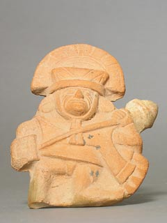Moche Molded Whistle Depicting a Warrior