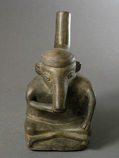 Chimu Anthropomorphic Coatimundi Stirrup Vessel