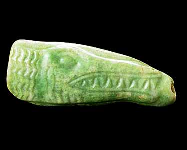 Mayan Jade Amulet in the Form of a Crocodile's Head