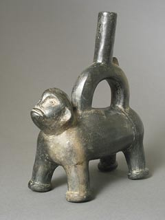 Chimu Blackware Monkey Stirrup Vessel