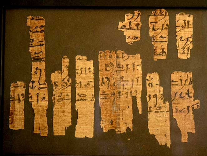 Egyptian Papyrus Fragment with Hieratic Inscription