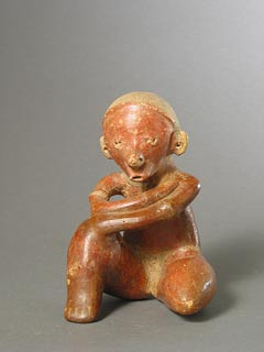 Chinesco Style (Type C) Nayarit Terracotta Sculpture of a Seated Man
