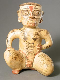 Galo Polychrome Sculpture of a Seated Man