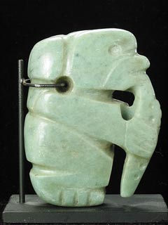 Atlantic Watershed Jade Pendant of a Monkey Eating a Fruit
