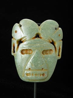 Atlantic Watershed Jade Pendant in the Form of a Mask Surmounted by Two Birds
