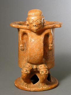 Guanacaste-Nicoya Terracotta Vessel with a Handle in the Form of a Man