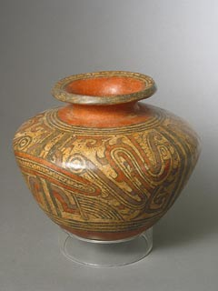 Cocle Terracotta Polychrome Vessel with a Long Neck