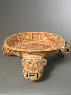 Terracotta Polychrome Tripod Bowl