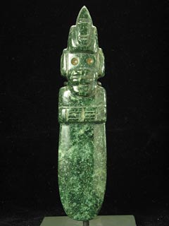 Guanacaste-Nicoya Jade Figure-Celt Pendant with a Large Headdress