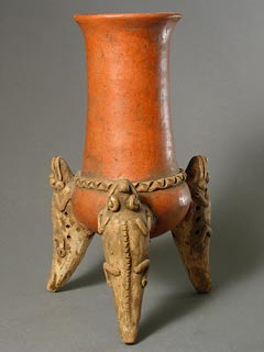 Terracotta Tripod Chocolate Pot with Lizarrd Legs