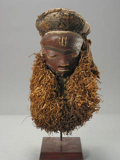 Pende Wooden Mask with a Raffia Beard