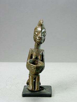Yoruba Brass Ogboni Sculpture of a Kneeling Woman Holding a Bowl