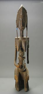 Bambara Wooden Guandousou Sculpture of a Mother and Child