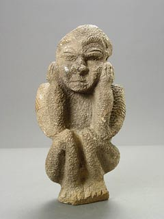 Kissi Soapstone Pombo Sculpture of a Crouching Man