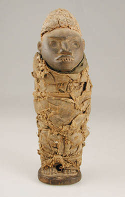 Yombe Nkisi Sculpture of a Man Wrapped in Cloth