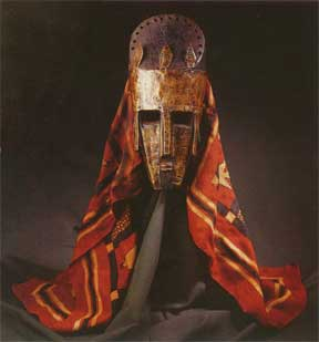 Marka Brass and Wood Mask with Coloured Cloth