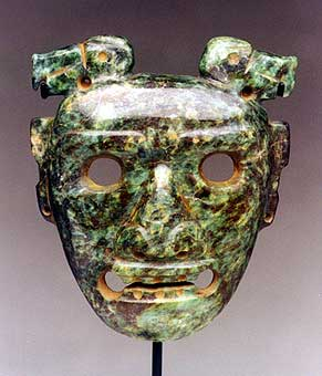 Guanacaste Greenstone Mask with a Bird Headdress