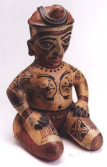 Terracotta Polychrome Kneeling Female Figure