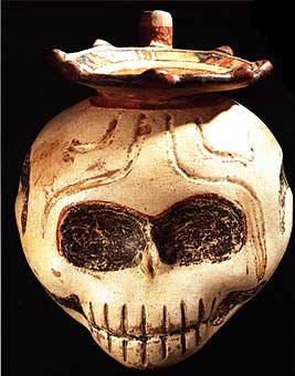 Terracotta Skull Vessel With Spout