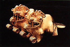 Gold Pendant of Twin Crocodile/Jaguar Composite Creatures