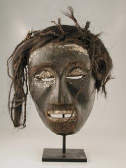 Uto Wooden Mask with a Wig