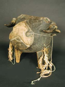 African Art / Bidjogo Wooden Dugn'be Helmet Mask of a Bull