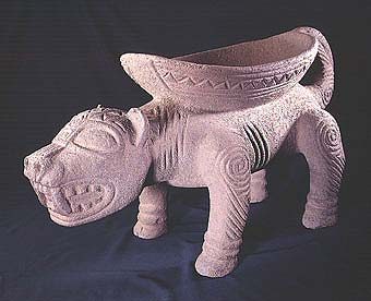 Basalt Sculpture of a Jaguar with a Bowl on its Back