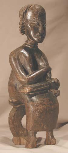Anyi Wooden Sculpture of a Mother and Child
