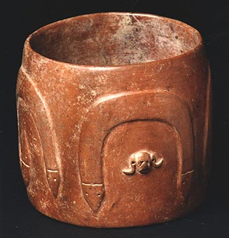 Colima Cylindrical Vessel  with Stylized Snakes and Skull Motifs