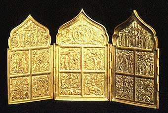 Brass Triptych Traveling Icon