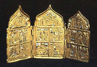 Enameled Brass Triptych Traveling Icon