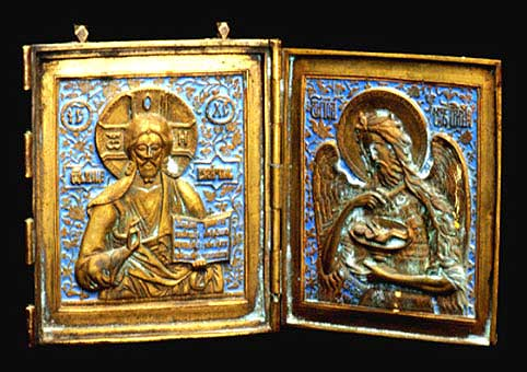 Enameled Brass Diptych Traveling Icon