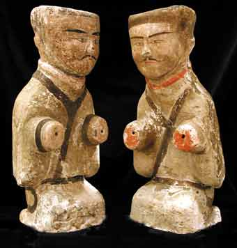 Pair of Western Han Painted Terracotta Officials