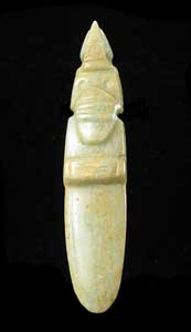 Guanacaste-Nicoya Jade Bird-Celt Pendant with a Large Headdress