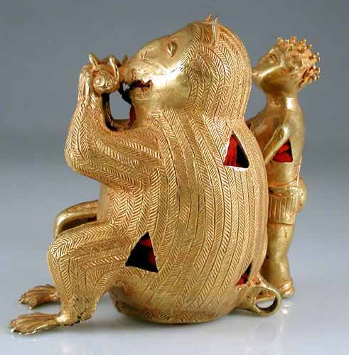 Akan Gold Sculpture of a Man and Monkey