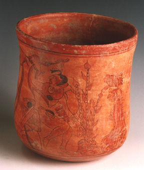 Mayan Painted Cylindrical Vase