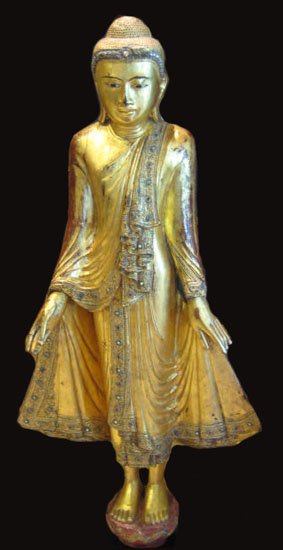 Shan Wooden Gilt Sculpture of a Buddha