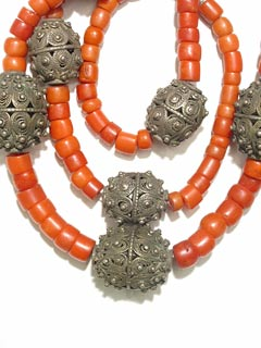 Coral Bead and Yemenite Silver Bead Necklace