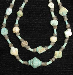 Egyptian Faience And Brown Quartz Bead Necklace