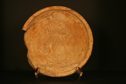 Assyrian Terracotta Dish Depicting Standing Figure
