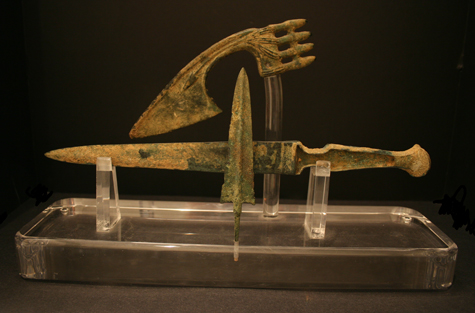 Iron Age Bronze Dirk, Axe, And Spear Head