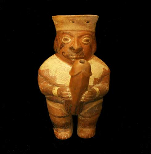 Moche Terracotta Vessel in the Form of an Ithyphallic Man
