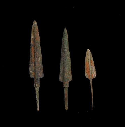 Three Iron age Bronze Arrowheads